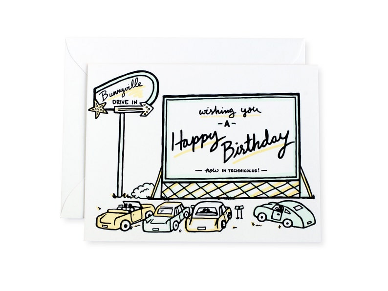 Drive In Movie Happy Birthday Letterpress Card image 0