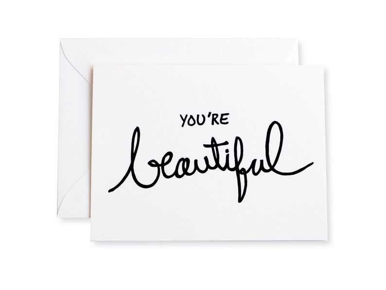Youre Beautiful Letterpress Note Card image 0