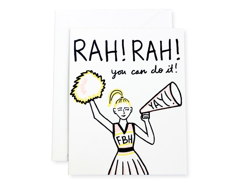 You Can Do It Cheerleader Letterpress Card image 0