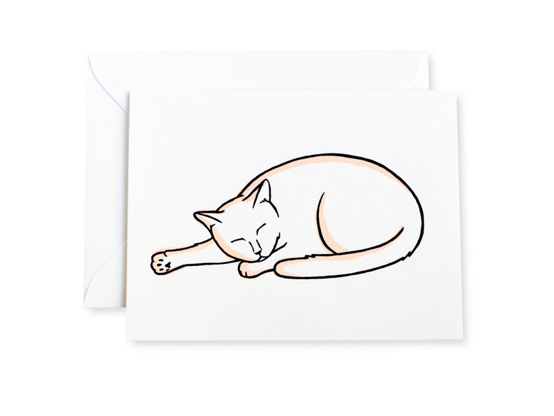 Cat Snoozes Letterpress Card image 0