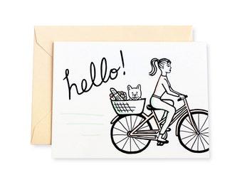 Hello French Bulldog Bike Ride Letterpress Card