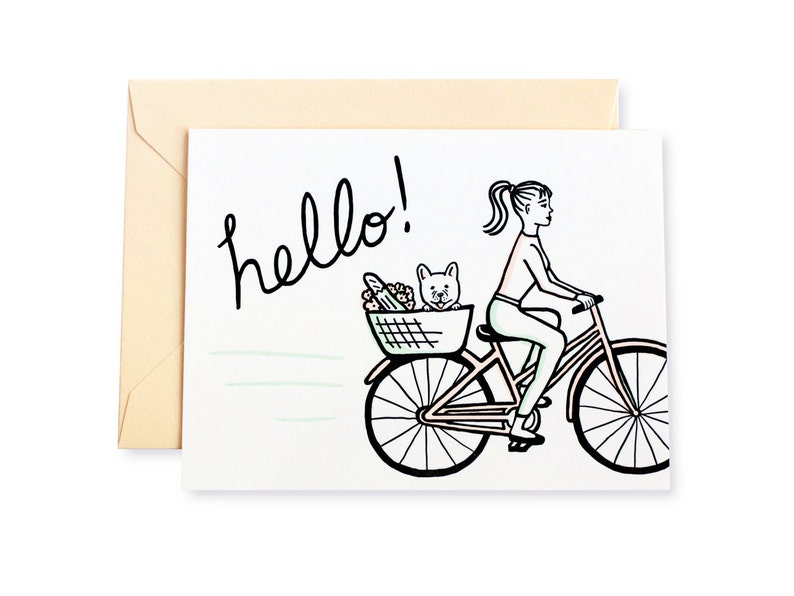 Hello French Bulldog Bike Ride Letterpress Card image 0