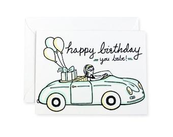 Happy Birthday Babe Vintage Car Letterpress Card