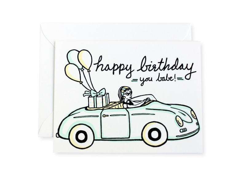 Happy Birthday Babe Vintage Car Letterpress Card image 0