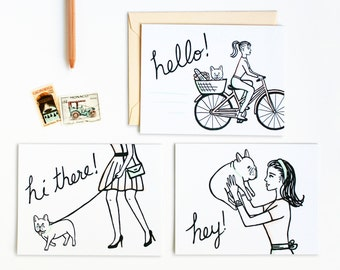 French Bulldog Girl Greetings Letterpress Card Set
