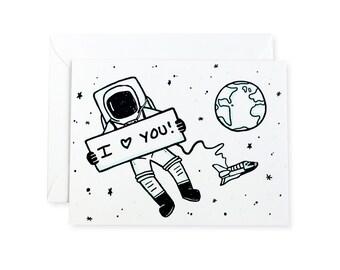 Astronaut I Love You Space Letterpress Card