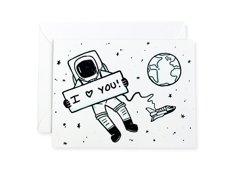 Astronaut I Love You Space Letterpress Card image 0