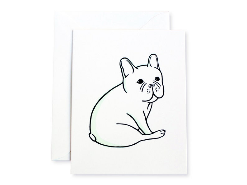 French Bulldog Sitting Letterpress Card image 0