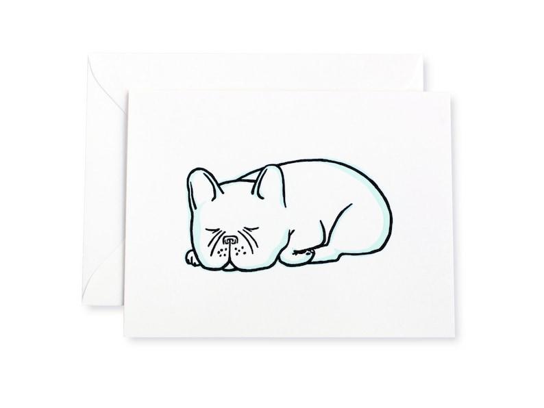 French Bulldog Snoozes Letterpress Card image 0