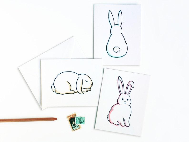 Cute Bunny Greetings Letterpress Card Set image 0
