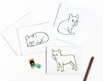 Cute French Bulldog Greetings Letterpress Card Set