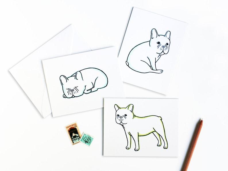 Cute French Bulldog Greetings Letterpress Card Set image 0