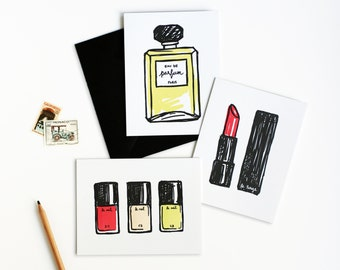 French Makeup Beauty Letterpress Card Set