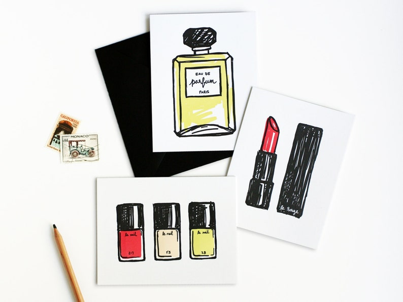 French Makeup Beauty Letterpress Card Set image 0
