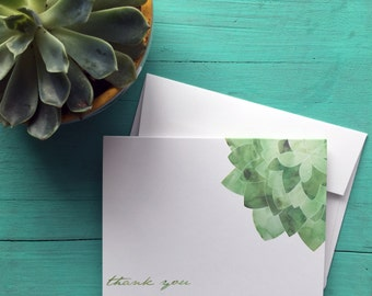 Personalized Stationery - Watercolor Succulent Customizable Notecard