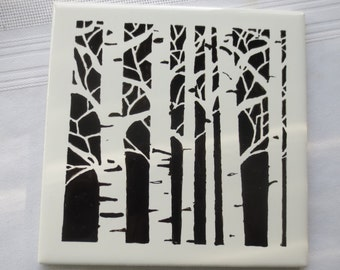 Birch Trees Hand Painted Tile Coaster Trivet Wall Decor