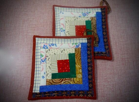 patchwork hot pad Log Cabin Patchwork  potholder quilted potholder tea rug trivet