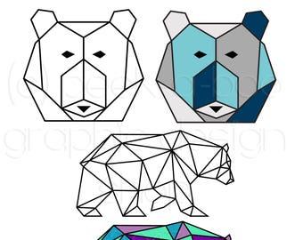 Geometric Bear SVG Cut File | Silhouette Cut File | Cricut Cut File | SVG Cut File | Commercial Use SVG