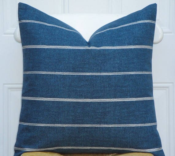 Pleasing Double Sided Decorative Pillow Cover Stripe In Blue Denim Sofa Pillow Chair Pillow Pillow Case Living Room Accent Theyellowbook Wood Chair Design Ideas Theyellowbookinfo