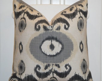 Decorative Pillow Cover - Throw Pillow - Accent Pillow - Charcoal - Grey - Natural - IKAT