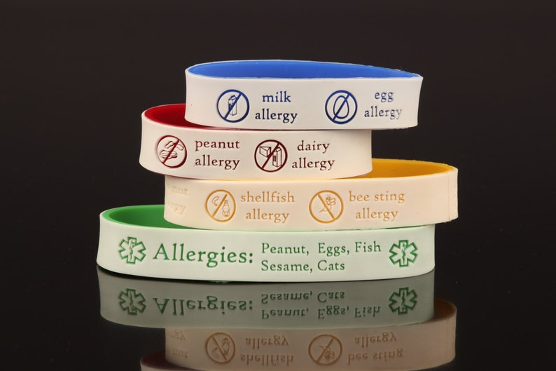 Allergy ID Bracelet with Emergency Contact Information Yellow