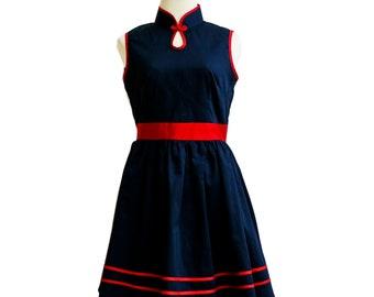 Black Qipao, Modern Qipao, Black Cheongsam Dress , Cheongsam Dress, Chinese Dress, Oriental Dress, Cotton Cheongsam, Cotton Qipao