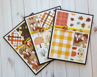 Colorblock Fall Card Set, Foxes, Plaid and Pumpkins, Quilt Block Cards