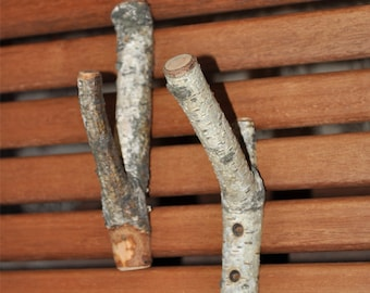 tree branch hooks•  set of 2  Birch Wooden Hooks  for all of your home decor needs . . .