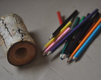 Rustic Natural Birch Wood Pencil Holder