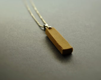 handmade wooden necklace  • Birch Wood Pendant   •  geometric Wooden Triangle  •  wood necklace