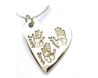 handprint jewelry, handprint necklace, handprint jewellery, heart necklace, footprint pendant, handprint pendant, actual handprints, baby