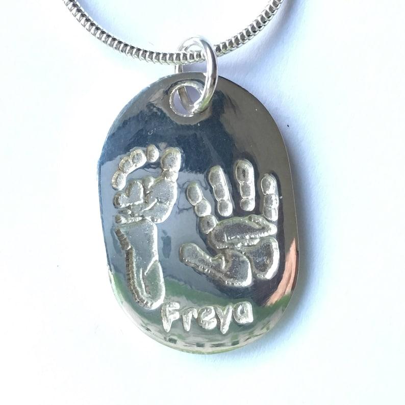 1ddd535a2 Handprint Necklace Actual Hand Print Handprint Name | Etsy