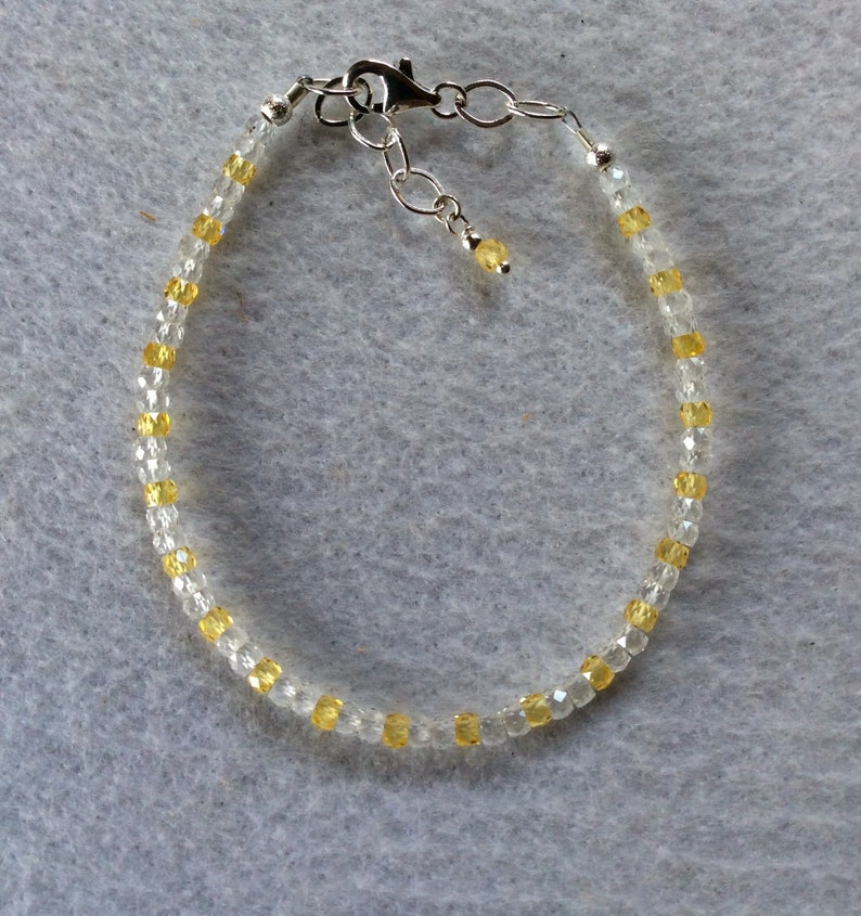 yellow and clear gems Zircon bracelet solid .925 silver