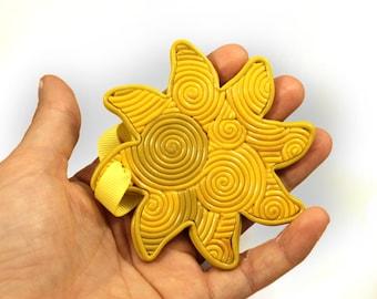 Sun ornament, tropical Christmas ornament, Hawaiian Christmas ornament, polymer clay, filigree ornament, large yellow sun ornament