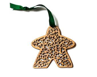 Beautiful Leafy Filigree Meeple Ornament, Wooden, meeple cutout, cherry wood, gaming Christmas tree ornament, boardgame, tabletop game gift