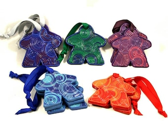 SET OF 3 meeple ornaments, board game gift, Christmas ornaments, tabletop gaming, pink purple blue red, swirly, analog gaming