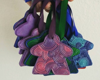 Colorful meeple ornament, board game gift, Christmas ornament, tabletop gaming, pink purple blue red, swirly, analog gaming