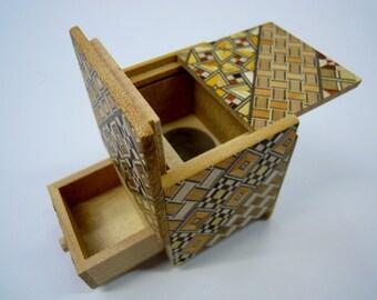 Drawer 4 steps Yosegi 2 sun cube (2.2inch/54mm) Japanese Puzzle box (Himitsu-bako)