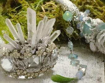 Made to order Tiny Fairy Crown,  Vintage Rhinestone Crown, Santos crown, Elven wedding, Forest Wedding, Fairy Wedding
