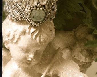 Made to order Fairy Crown,  Vintage Rhinestone Crown, Santos crown, Elven wedding, Forest Wedding, Fairy Wedding