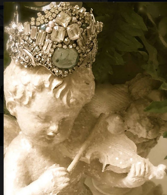 Made to order Fairy Crown,  Vintage Rhinestone Crown, Santos crown, Elven wedding, Forest Wedding, Fairy Wedding