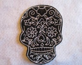 Embroidered Sugar Skull Iron On Patch, Sugar Skull, Iron On Patch, Skeleton Patch, Iron On Applique, Sugar Skull Applique, Skeleton. Goth