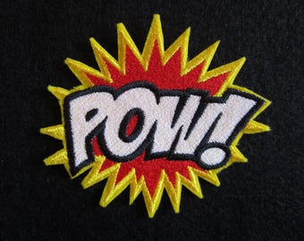 SEQUINED IRON ON PATCH speech bubble comic book word phrase or POW choose POP