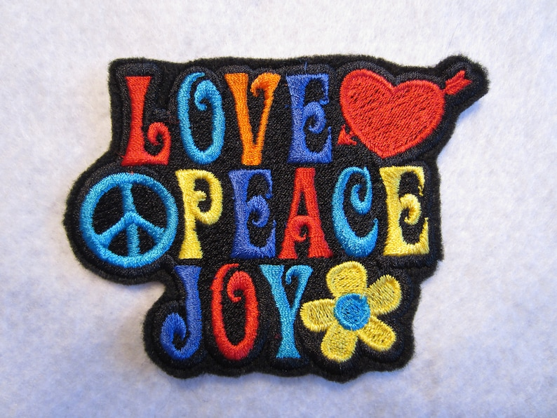 bee2fee406da Embroidered Peace Love Joy Iron On Patch Hippie Patch | Etsy