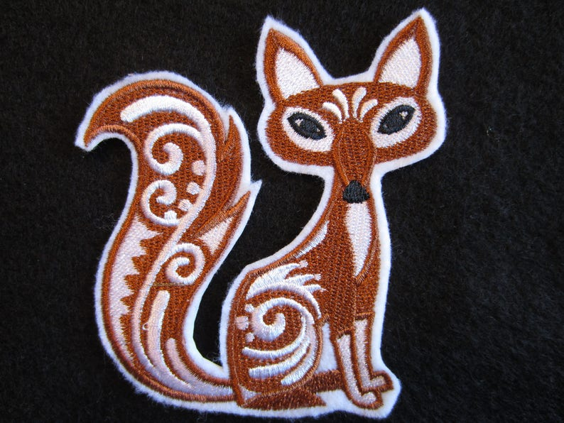 Fox Patch Fox Embroidered Fox Embroidered Applique Embroidered Fox Iron On Patch Fox Applique Iron On Fox