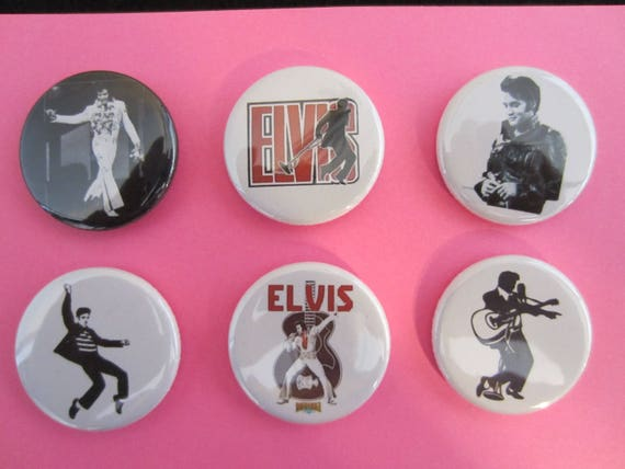 """12 ELVIS ONE Inch Buttons 1/"""" Badges Pinback Pins The King of Rock /& Roll Presley"""