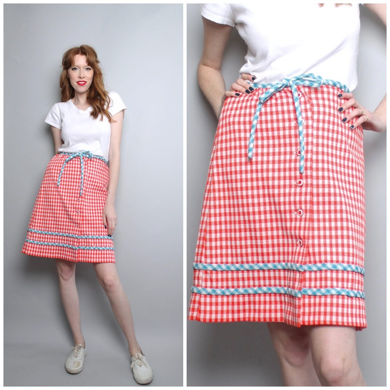 09ca57a072e 1960's Red White and Blue Gingham Skirt / Small   Etsy