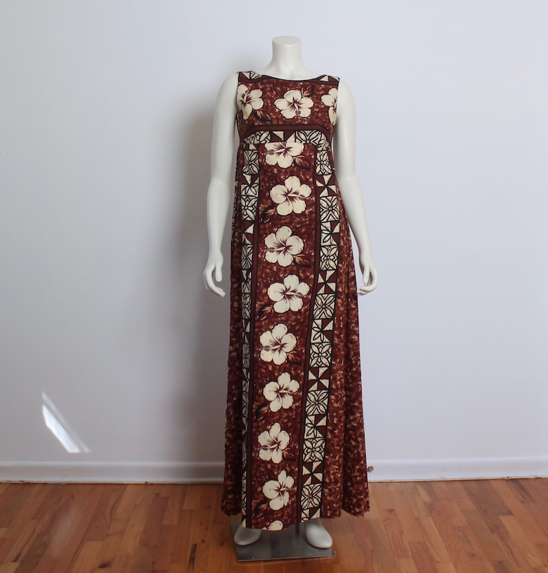 f98acdd94f18 1960 s Tiki Dress   Cotton Hawaiian Maxi Dress   Brown