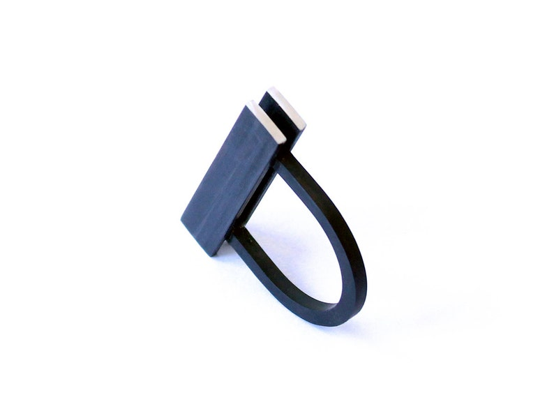 Modular Collection Ring sterling silver black oxide contemporary jewelry abstract urban geometric architecture statement contrast