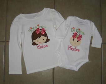 83568b5e Embroidered - big sister/little sister set with personalization - choose  short or long sleeve